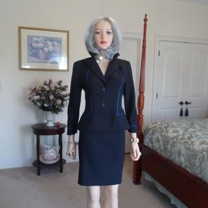 Alyn Paige Black Striped/Blue Piping Skirt Suit 4